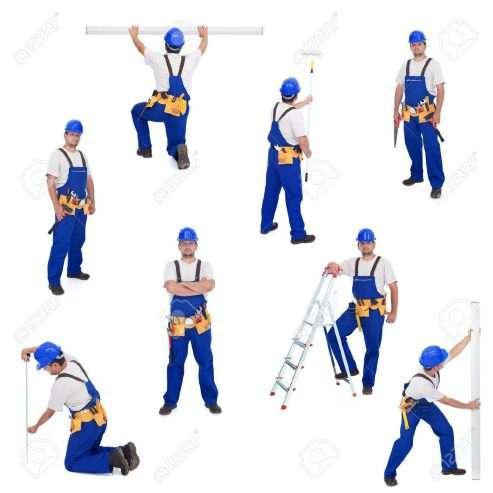 9986760-Tuttofare-o-lavoratore-in-diverse-posizioni-di-lavoro-isolato-collage-Archivio-Fotografico